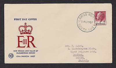 AUSTRALIA 1957 QE2 FDC 4d  LARGS NORTH CANCEL