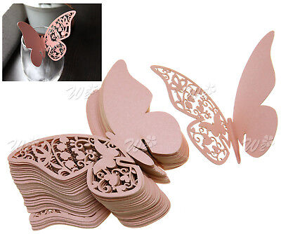 50 x Laser Cut Butterfly Wedding Place Name Card Pink Pearl Table Cup Card