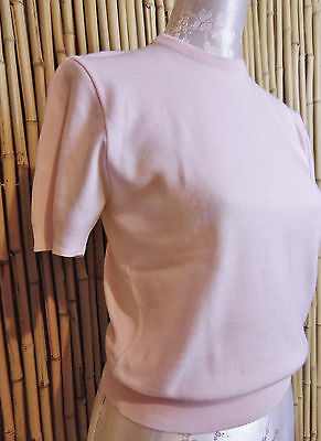 vintage 50s sweater short sleeve top knit pale pink sz M