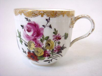 Berlin Porcelain Superbly Painted Bright Flowers Coffee Cup C1800