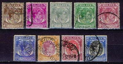 Singapore 1948 KGVI Definitives perf 17.5 x 18 (+ 2 x p14) - Used