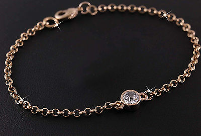 18ct Rose Gold GF Swarovski Elements Crystal Chain Bracelet 18k gf