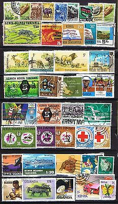 East Africa (Kenya, Uganda & Tanzania) 80 stamps incl packet - Used and MNH