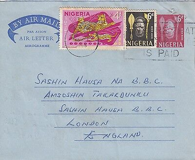 P 2103 Nigeria  1968 uprated aerogramme  to the UK; 2 stamps added