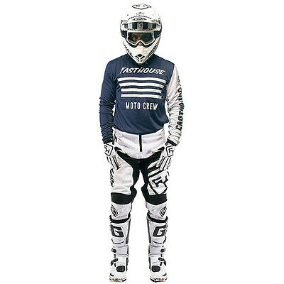 NEW Fasthouse Mx Stripes Speed Navy White Jersey Pants Gloves Motocross Gear Set