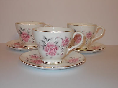 3 x Duchess Bone China Tea Cups and Saucers Floral Design Lovely