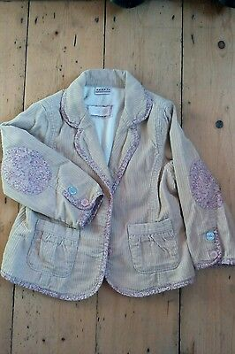 Next chunky pin cord jacket. Fleece lined. Patchwork sleeves. 2-3 yrs. Exc Con