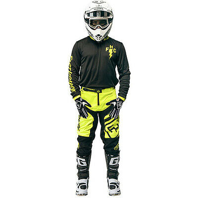 NEW Fasthouse Mx FH Crew Black Jersey FLO Yellow Pants Motocross Gear Set Gloves