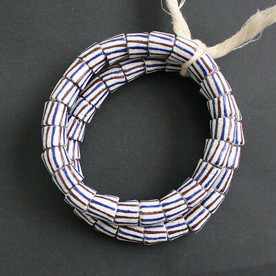 Recycled Glass Beads White African Ghana Krobo Tubes 11 mm 10-Pk Jewellery Craft