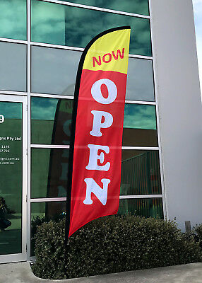 3.5m NOW OPEN FLAG / Outdoor Flag / Advertising Flag Banners  - Ready to Ship!