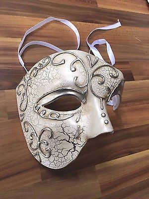 Mens Masquerade Mask Venetian Phantom Filigree Ball Prom Party Disco Cream
