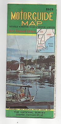 Vintage 1971 New England Edition Motorguide Map (New England Motor Court Map)