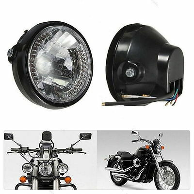 """Front Motorcycle 7"""" DirtBike Headlight  LED Turn Signal Amber Lamps Universal"""