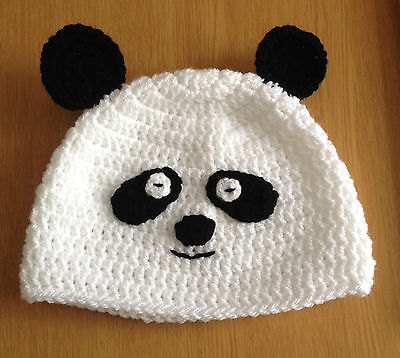 Panda black and white Beanie hat for 1 2 3 years old handmade in crochet