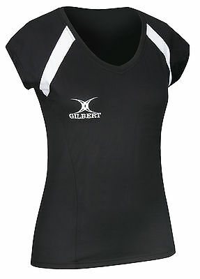 Clearance Line New Gilbert Netball Helix Top Black Size 8