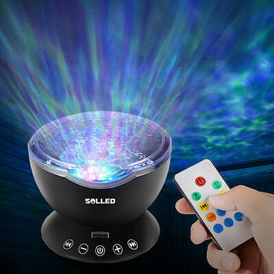 Music Ocean Wave Relaxing Projector LED Night Light Remote Lamp Xmas Kids Gift