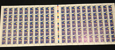 Not Folded Sheet of 100 MNH 1983 Part 1 Christmas Kookaburra 35c Stamps