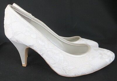 *BNWT* Wedding Lace & Satin Ivory Mid-Heel Court Shoes 7 / 5 Bridal Wide Fit