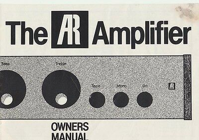 The Ar Amplifier Owners Manual
