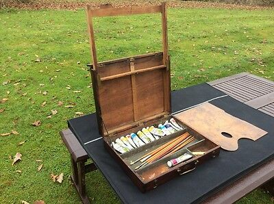 Antique Artists Paint Box Vintage With Folding Easel
