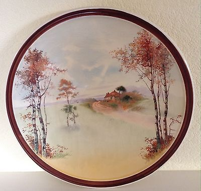 """Rare Royal Doulton Large Wall Plate, D4987 'English Cottages', 13.5 """", Excellent"""