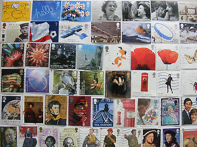 50g GB commemorative stamps : ALL DIFFERENT - OFF PAPER : est. 500 stamps
