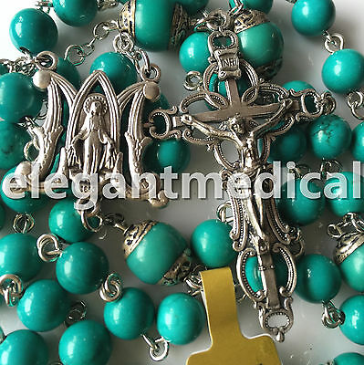 Vintage Turquoise BEADS CATHOLIC AVE MARIA ROSARY NECKLACE CROSS ITALY CRUCIFIX