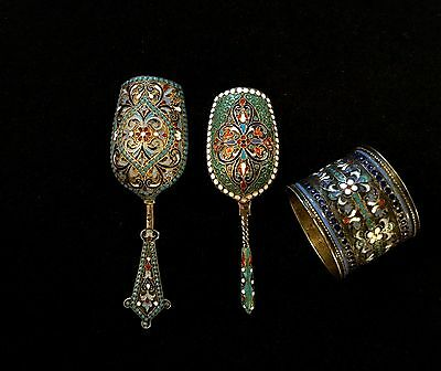 Antique Russian Silver & Enamel Items,two Sugar Spoons And Napkin Ring, 19 Cen.