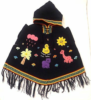 Children's Hooded  Wool Ponchos Handmade Embroidered With Tassels