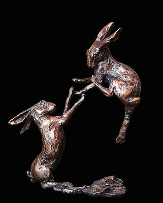 Boxing Hares, Detailed Solid Bronze Miniature By Butler and Peach,Richard Cooper