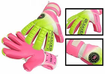 Goalkeeper Gloves Football Semi Negative Flat Mix Cut GK Saver Passion Ps08 Pink