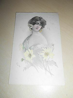 Early Art Nouveau Period Glamour Pc - Pretty Lady With Flowers - Vgc