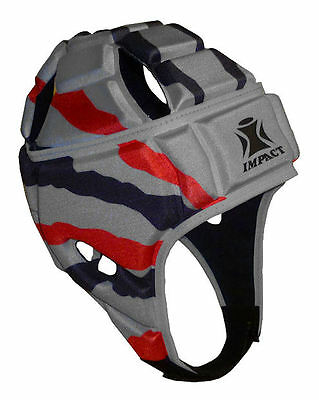 NEW IRB Approved IMPACT Rugby Headguard Scrumcap Union League Silver/Black Red