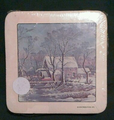 1978 Avon Cork coaster set of 6 Currier & Ives Scene unopened