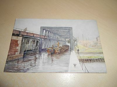 Early Canal Barge Artist Pc - Barton Swing Aqueduct - Port Of Manchester - Vgc