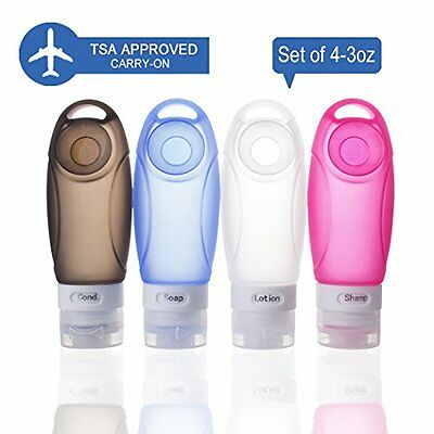 TianQin WY 100ml 4 Pack Silicone Travel Bottles TSA Approved Carry On Shampoo a