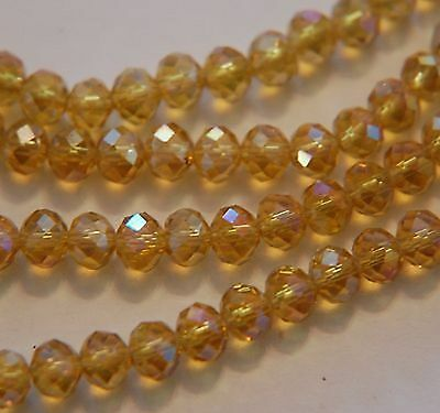 6x4mm yellow AB Crystal Loose Beads 98pcs Free Shipping a.0051