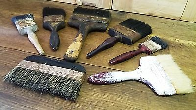 Mixed Lot of 7 Vintage/Old Used Decorators Paint Brushes-Interesting Visual Prop