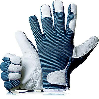 GardenersDream Ladies / Mens Slim Fit Leather Gardening Work Gloves - Navy