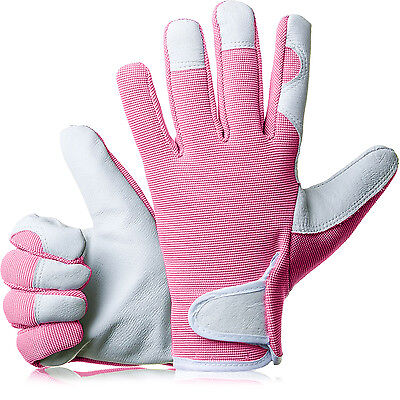 GardenersDream Ladies / Mens Slim Fit Leather Gardening Work Gloves - Baby Pink