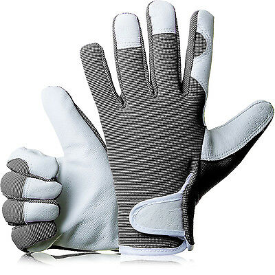 GardenersDream Ladies / Mens Slim Fit Leather Gardening Work Gloves - Grey