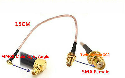 """SMA Female Jack to MMCX Male Right Angle RG316 Pigtail RF Cable 15cm 6in 6"""""""