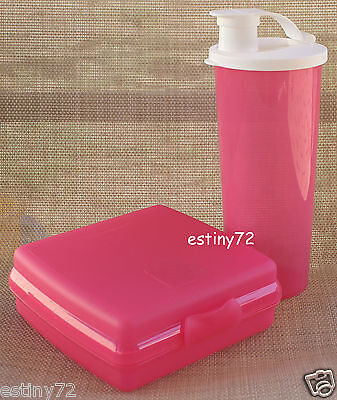 Tupperware Kids Sandwich Keeper & Tumbler With Spout Set Pink Punch & White New