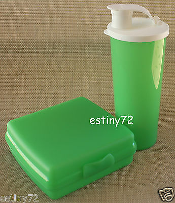 Tupperware Kids Sandwich Keeper & Tumbler With Spout Set Green & White New