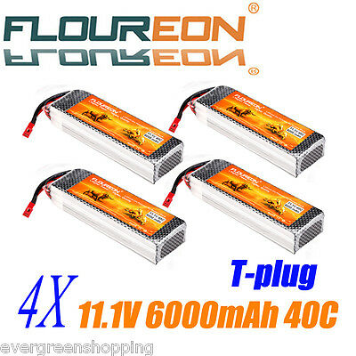 4X 3S 11.1V 6000mAh 40C Lipo RC Battery Pack T for RC Airplane Car Boat RC Hobby