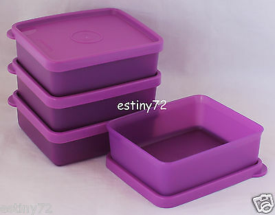 Tupperware Mini Square Away On The Go Snack Containers Set (4) Purple New