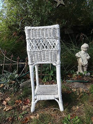 Vintage Antique White Wicker Plant Stand