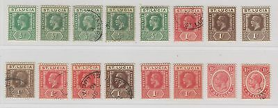 St Lucia Sc. 64 or 76/65 or 77 or 78/79 King George V 16 Stamps 1912-24 MH/Used