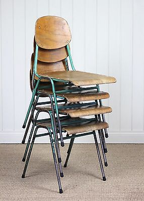 Set of Four Vintage Industrial Metal Stacking School Chairs Retro Cafe Bar (#1)