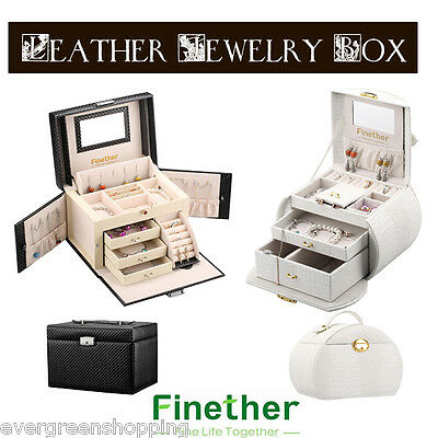 Leather Jewelry Box Case Necklace Ring Storage Gift Jewellery Display Cabinet